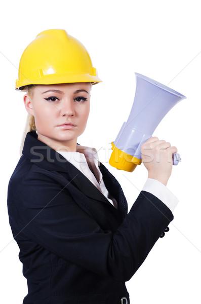 Femenino trabajador de la construcción altavoz negocios mujer construcción Foto stock © Elnur