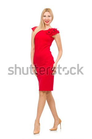 Foto stock: Mulher · jovem · vermelho · traje · branco · menina