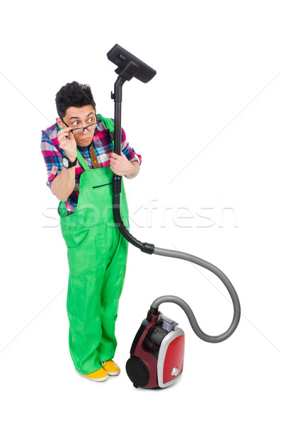 Funny Man In Green Coveralls Vacuum Cleaning Stock Photo C Elnur 4301858 Stockfresh