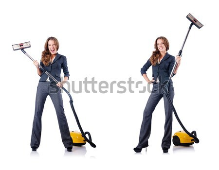 Man with vacuum cleaner and broom on white Stock photo © Elnur