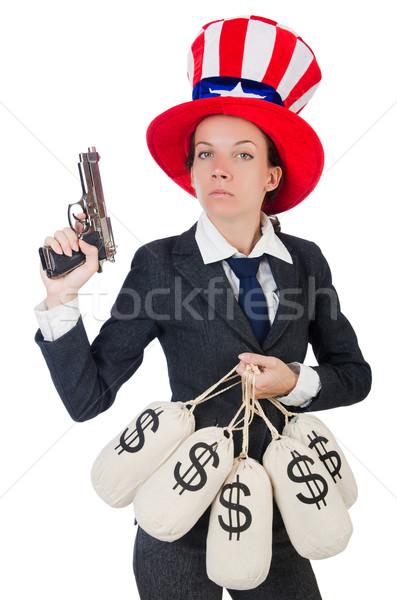деловая женщина деньги пушки изолированный белый бизнеса Сток-фото © Elnur