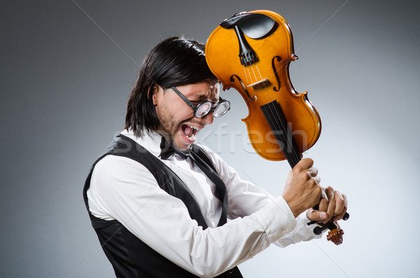 Funny fiddle violin player in musical concept Stock photo © Elnur