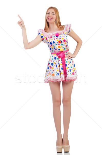 Woman pressing virtual button isolated on white Stock photo © Elnur