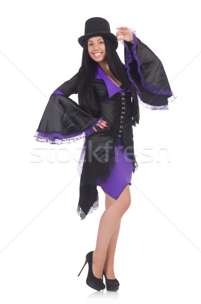 Woman in black and violet dress isolated on white Stock photo © Elnur