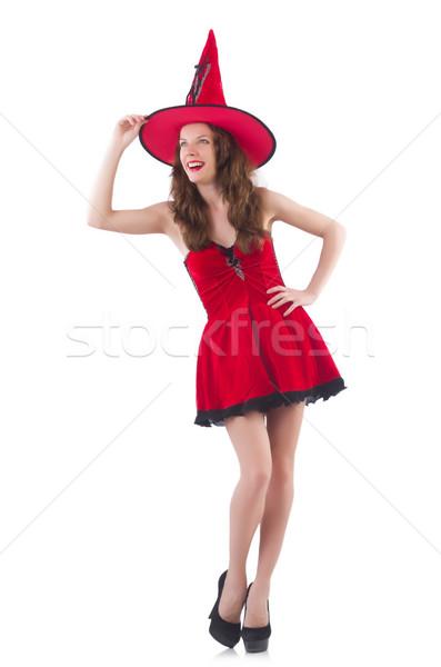 Genç kadın model poz kırmızı mini Stok fotoğraf © Elnur