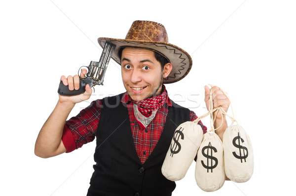 Young cowboy with gun and money bags isolated on white Stock photo © Elnur