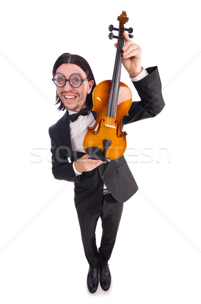 Funny man with violin isolated on white Stock photo © Elnur