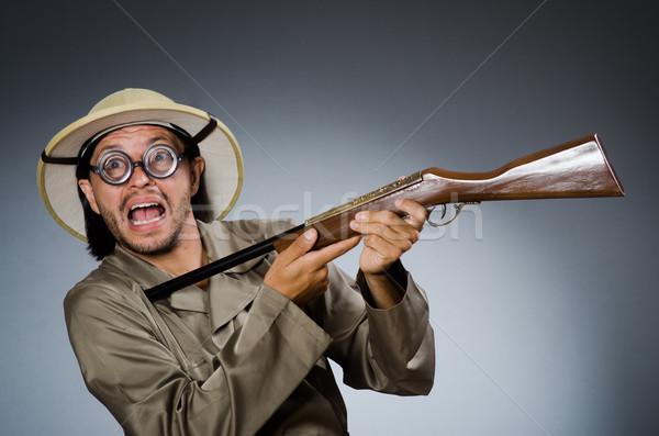 Funny Safari Jäger Gewehr Mann Spiel Stock foto © Elnur