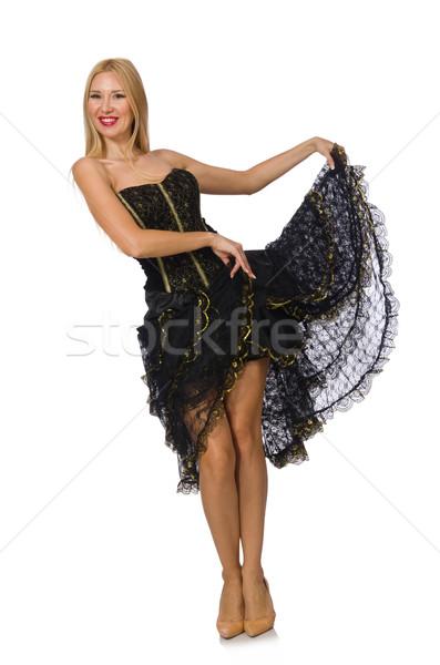 Loiro cabelo menina preto vestido de noite isolado Foto stock © Elnur