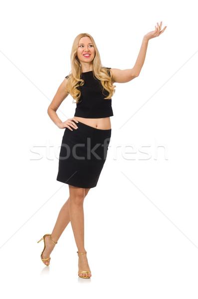Stockfoto: Mooie · meisje · zwarte · klein · jurk · geïsoleerd