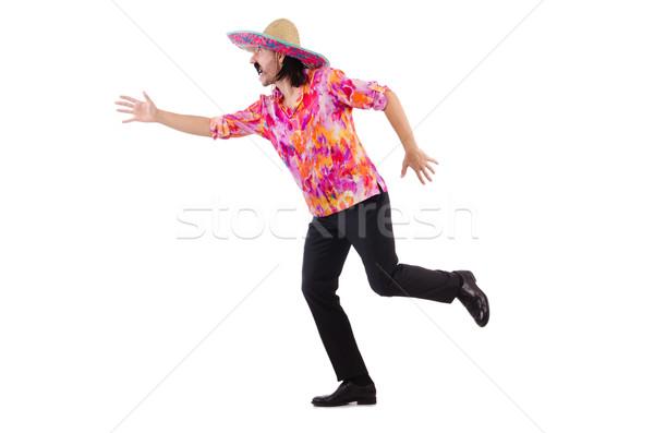 Stockfoto: Lopen · Mexicaanse · geïsoleerd · witte · gelukkig · achtergrond