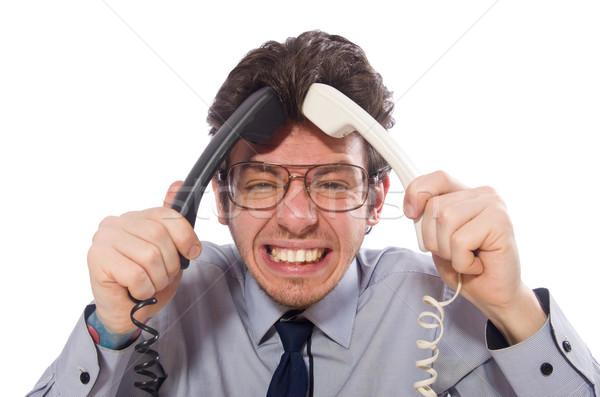 Jungen Call Center Mitarbeiter isoliert weiß Telefon Stock foto © Elnur