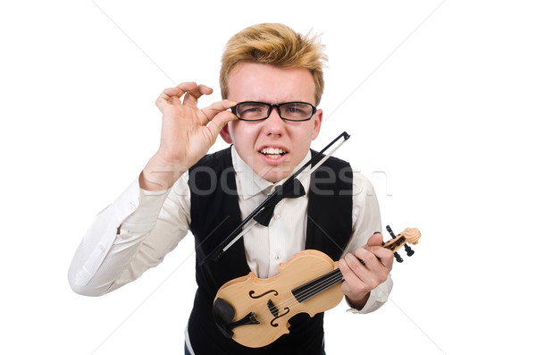 Stock fotó: Vicces · hegedű · játékos · izolált · fehér · férfi