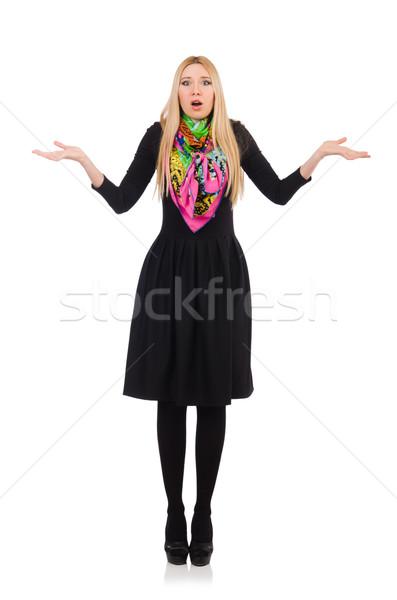 Stock fotó: Nő · hosszú · fekete · ruha · izolált · fehér · modell