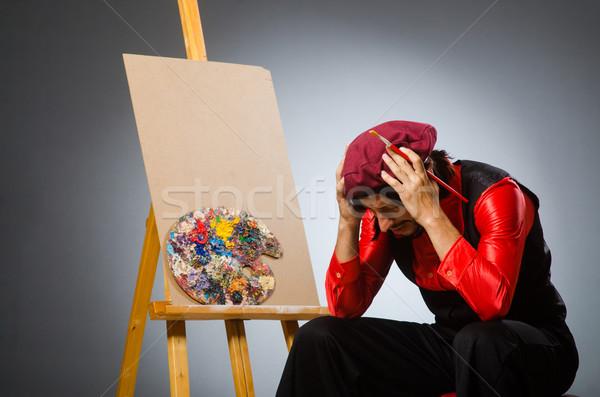 Man kunstenaar kunst student verf frame Stockfoto © Elnur