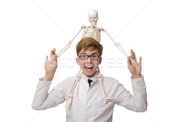 Foto d'archivio: Divertente · medico · scheletro · isolato · bianco · studente