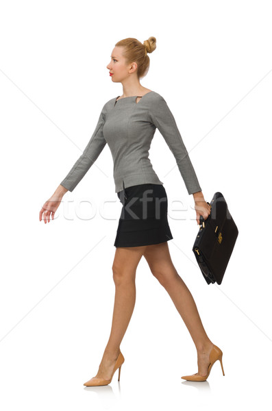 Woman  with briefcase isolated on white Stock photo © Elnur