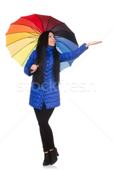 Pretty girl in blue winter jacket isolated on white Stock photo © Elnur