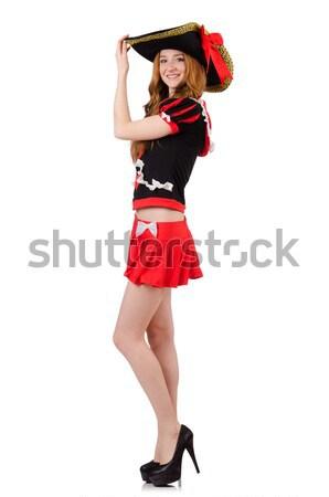 Aranyos szőke nő lány virágmintás ruha izolált Stock fotó © Elnur