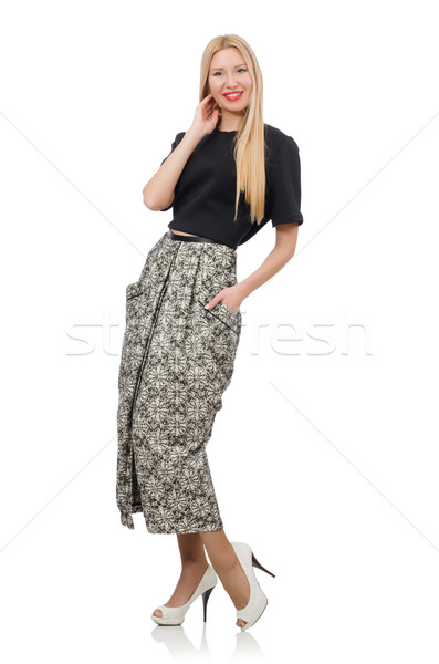 adb95176f9a4 Pretty woman in long skirt isolated on white Stock photo © Elnur