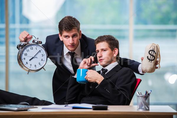 Время-деньги два бизнесмен бизнеса часы мужчин Сток-фото © Elnur