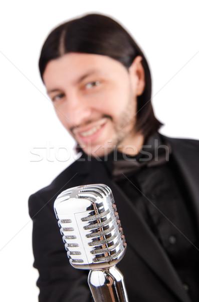 Homem cantando karaoke clube festa cabelo Foto stock © Elnur