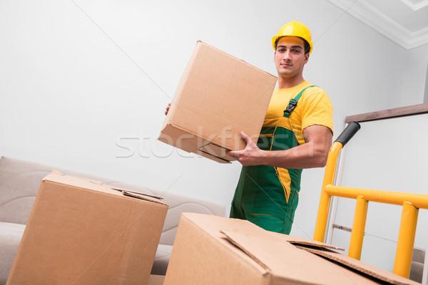 человека коробки дома двигаться домой грузовика Сток-фото © Elnur