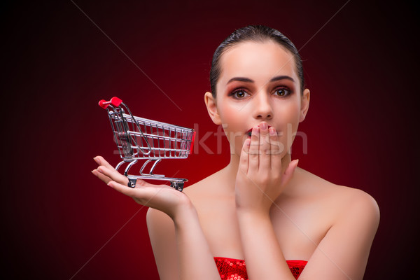 Woman with shopping cart against red background Stock photo © Elnur