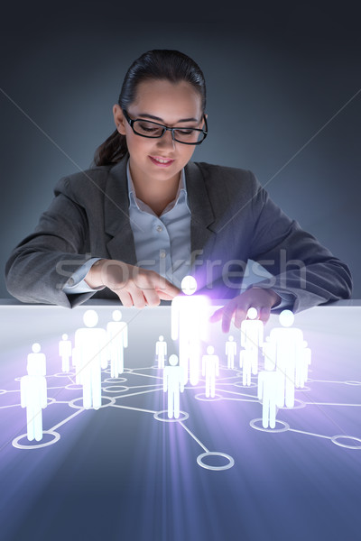 ストックフォト: 女性 · ソーシャルネットワーク · ビジネス · 技術 · 連絡 · ネットワーク