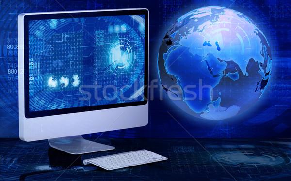 Ekranie komputera działalności świecie świat technologii tle Zdjęcia stock © Elnur