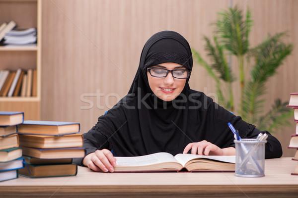 Nő muszlim diák vizsgák lány könyvek Stock fotó © Elnur