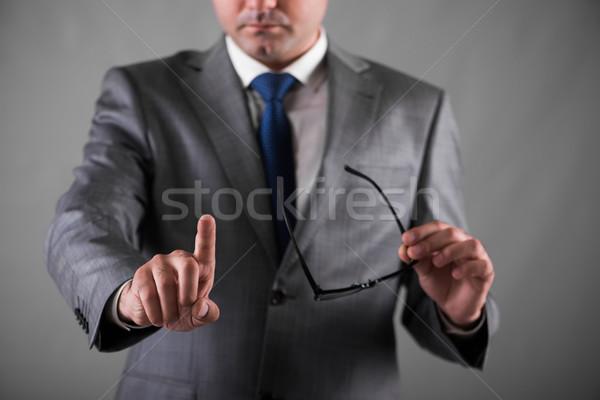 üzletember kisajtolás gombok üzlet kezek munka Stock fotó © Elnur
