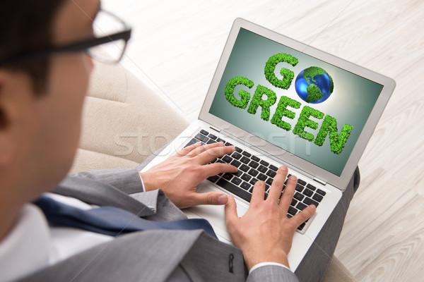 ストックフォト: ビジネスマン · ノートパソコン · 緑 · 環境 · 春 · 地図
