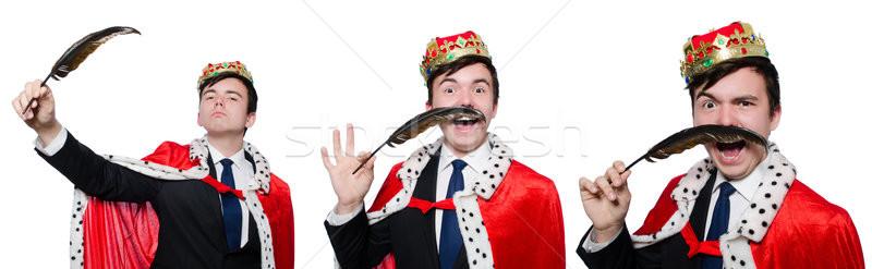 Rei empresário coroa trabalhar caneta terno Foto stock © Elnur