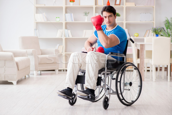 The disabled boxer at wheelchair recovering from injury Stock photo © Elnur