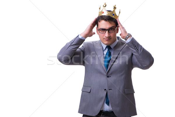 Rey empresario aislado blanco trabajo ejecutivo Foto stock © Elnur