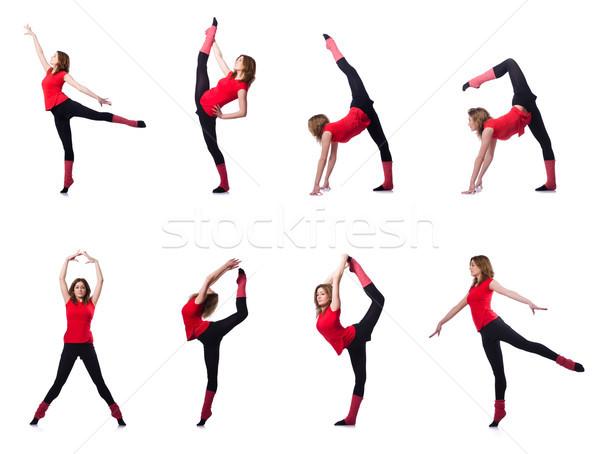 Fiatal tornász testmozgás fehér nő lány Stock fotó © Elnur