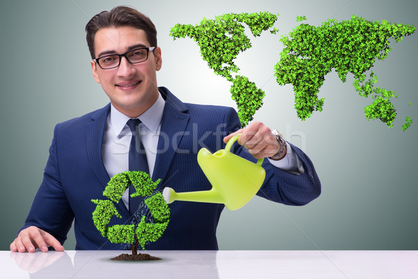 Stock fotó: üzletember · locsol · terv · újrahasznosítás · ház · földgömb