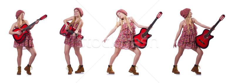 Gitarist vrouw geïsoleerd witte partij disco Stockfoto © Elnur
