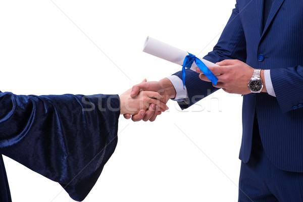 Student receiving diploma after graduation Stock photo © Elnur