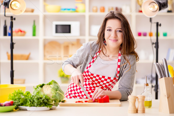 Stock photo: Food cooking tv show in the studio