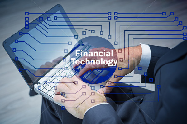 Hands working on laptop in financial technology fintech concept Stock photo © Elnur