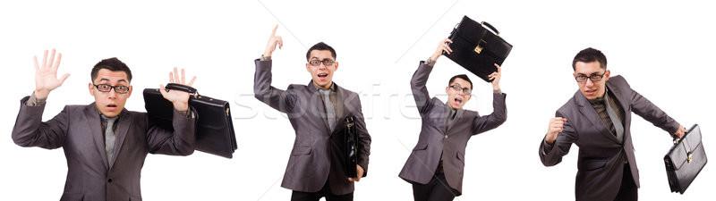 Jonge man aktetas geïsoleerd witte werk Stockfoto © Elnur