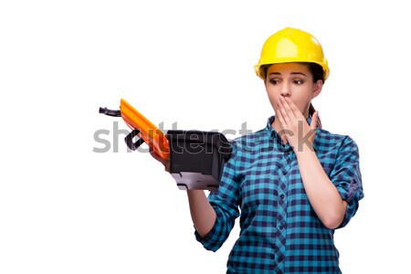 Young woman in industrial concept isolated on white Stock photo © Elnur