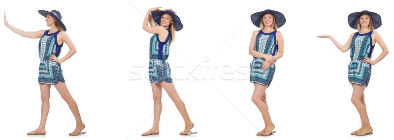 Kolaż kobieta Panama hat odizolowany biały Zdjęcia stock © Elnur