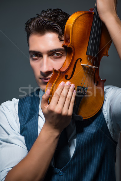 Young musician man practicing playing violin at home Stock photo © Elnur