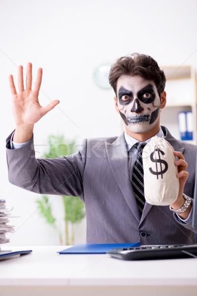 Işadamı korkutucu yüz maske çalışma ofis Stok fotoğraf © Elnur