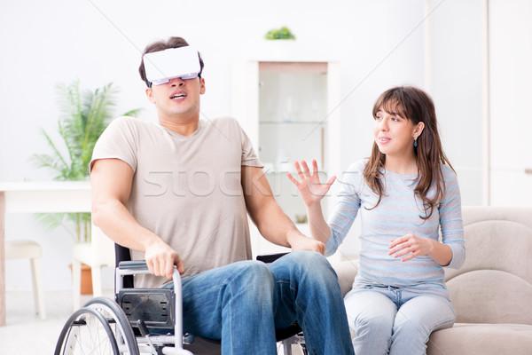 Stockfoto: Gehandicapten · man · virtueel · bril · medische · paar