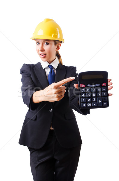 Female construction worker with calculator Stock photo © Elnur