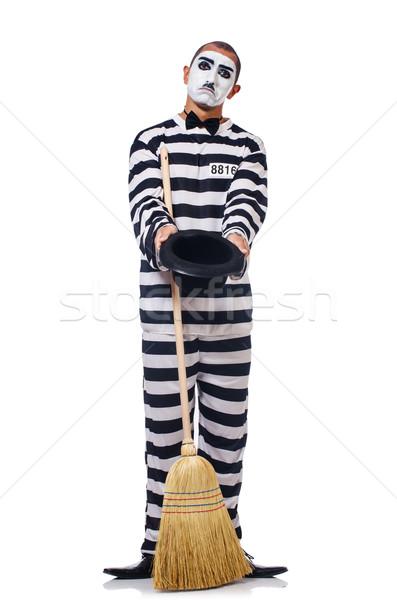 Tutuklu süpürge yalıtılmış beyaz hukuk sinema Stok fotoğraf © Elnur